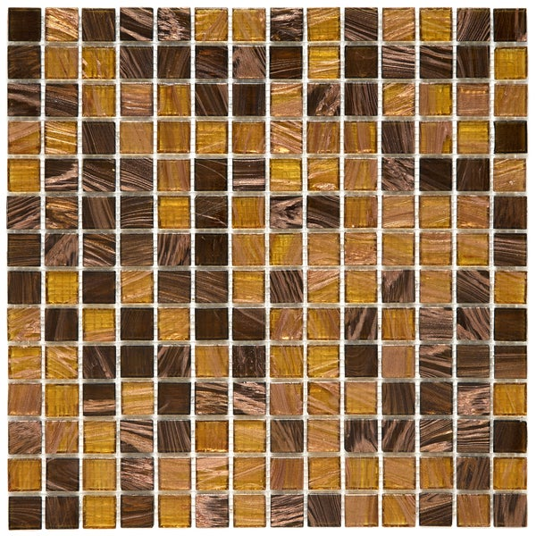 SomerTile 12x12-in Cuivre 1-in Amber Translucent Glass Mosaic Tile (Case of 13)