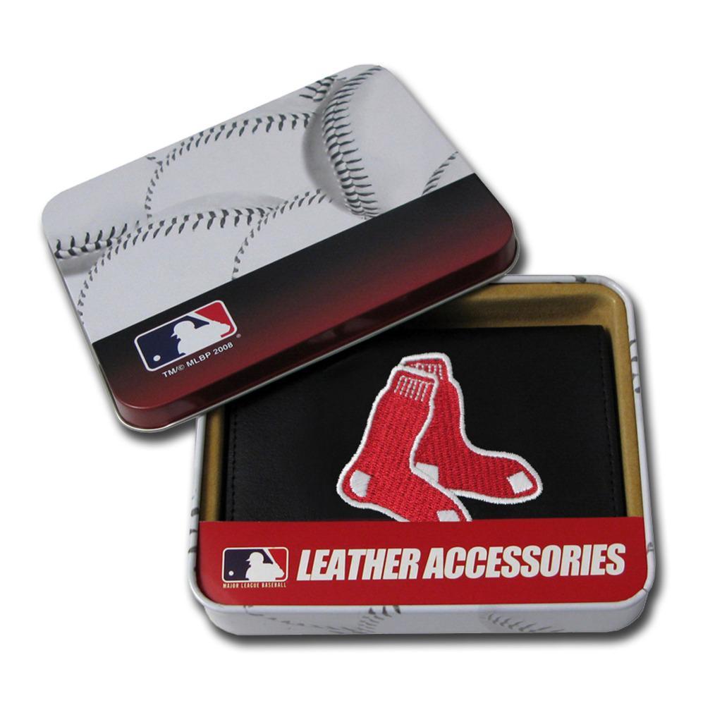 Boston Red Sox Men's Black Leather Tri-fold Wallet