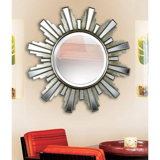 Luminary 34-inch 'Sun Ray' Antique Silver Wall Mirror