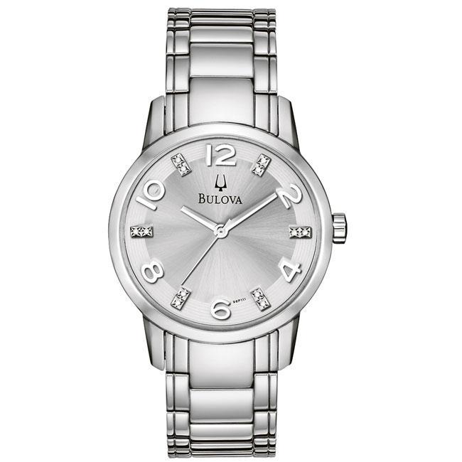Bulova Women's Stainless Steel 12-diamond Dial Watch