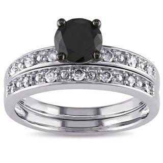 Miadora 10k White Gold 1ct TDW Black and White Diamond Ring Set (G-H, I3)