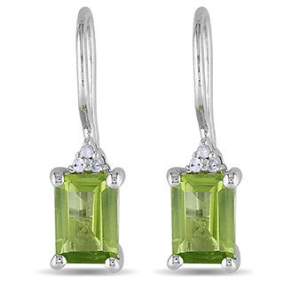M by Miadora Sterling Silver Peridot and Diamond Earrings