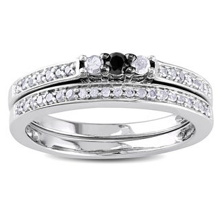 Haylee Jewels Sterling Silver 1/4ct TDW Black and White Diamond Ring Set (H-I, I3)