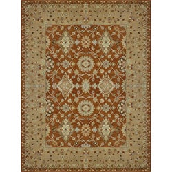 Hand-tufted Aara Orange Wool Rug (5' x 7'6)
