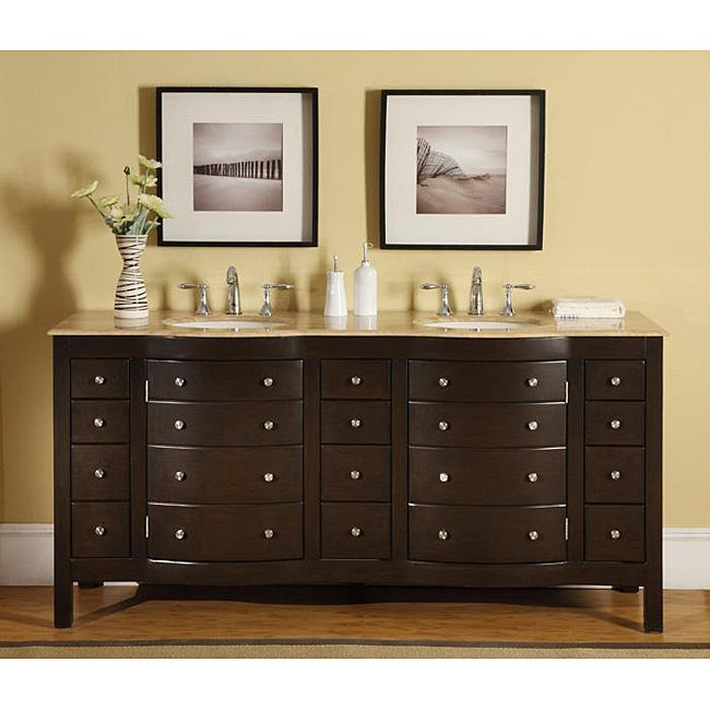 Silkroad Exclusive Pomona 72 Inch Double Sink Bathroom Vanity Overstock Shopping Great Deals