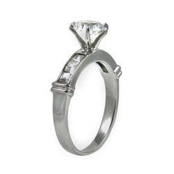 Stainless Steel Cubic Zirconia Engagement Ring