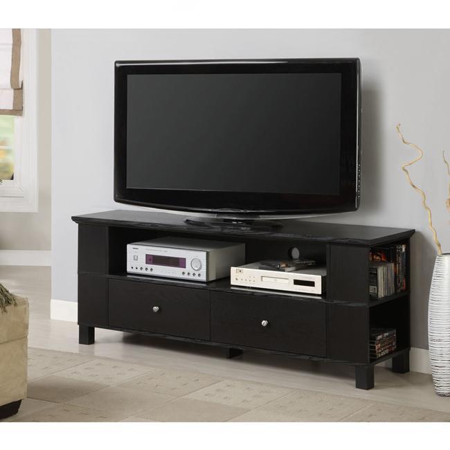 black wood 60 inch tv stand overstock shopping great deals on walker edison entertainment. Black Bedroom Furniture Sets. Home Design Ideas