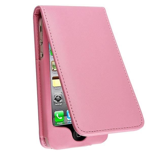 INSTEN Light Pink Leather Phone Case Cover for Apple iPhone 4