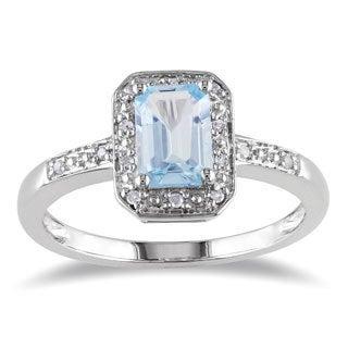 Miadora Sterling Silver Aquamarine and Diamond Accent Ring