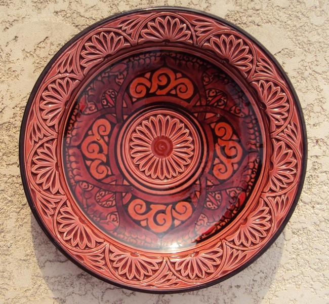 Ceramic Engraved Chili Plate (Morocco)