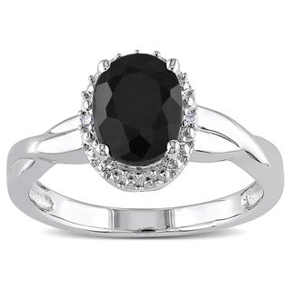 M by Miadora Sterling Silver Black Sapphire and Diamond Accent Ring