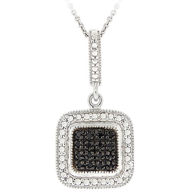 DB Designs Sterling Silver 1/5ct TDW Black Diamond Square Necklace