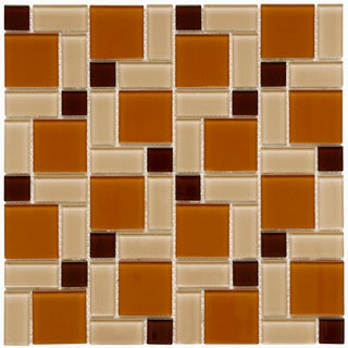 SomerTile 12x12-in View Block Suntan Glass Mosaic Tile (Case of 20)