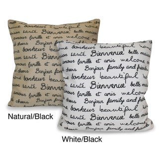 French Words Decorative Pillow