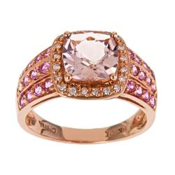 D'Yach 14k Rose Gold Morganite, Pink Sapphire and 1/10ct TDW Diamond Ring (I-J, I1-I2)