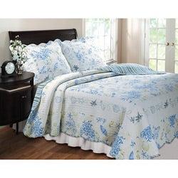 Coral Blue 3-Piece Quilt Set