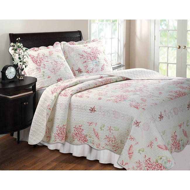 Greenland Home Fashions Coral Red 3-piece Quilt Set
