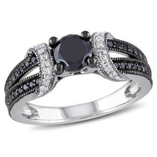 1 CT Black and White Diamond TW Fashion Ring Silver GH I2;I3 Black Rhodium Plated