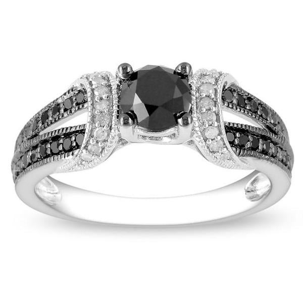 1 CT Black and White Diamond TW Fashion Ring Silver GH I2;I3 Black Rhodium Plated