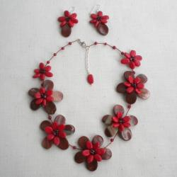 Red Jasper and Coral Floral Jewelry Set (Thailand)