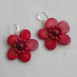 Red Coral Floral Earrings (Thailand)