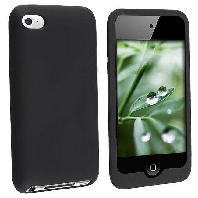 INSTEN Black Soft Silicone iPod Case Cover for Apple iPod Touch 4