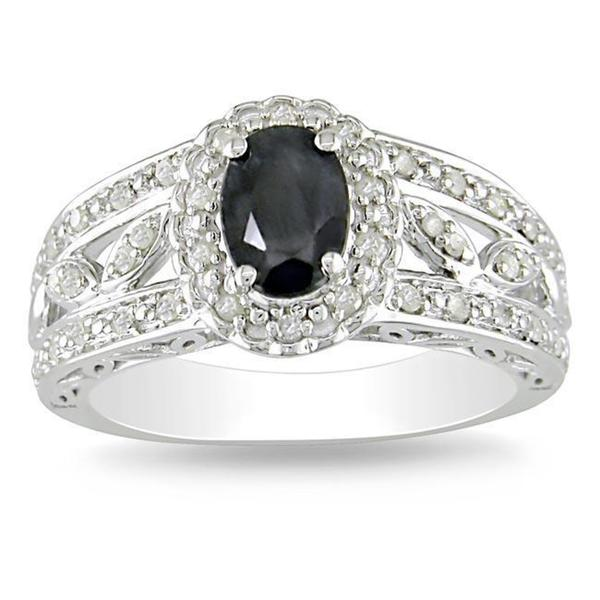 Miadora Sterling Silver 1/5ct TDW Diamond and Sapphire Ring (H-I, I3)