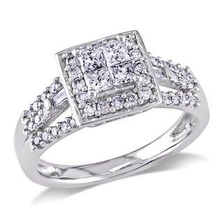 Miadora 10k White Gold 1/2ct TDW Diamond Halo Engagement Ring (G-H, I2-I3)