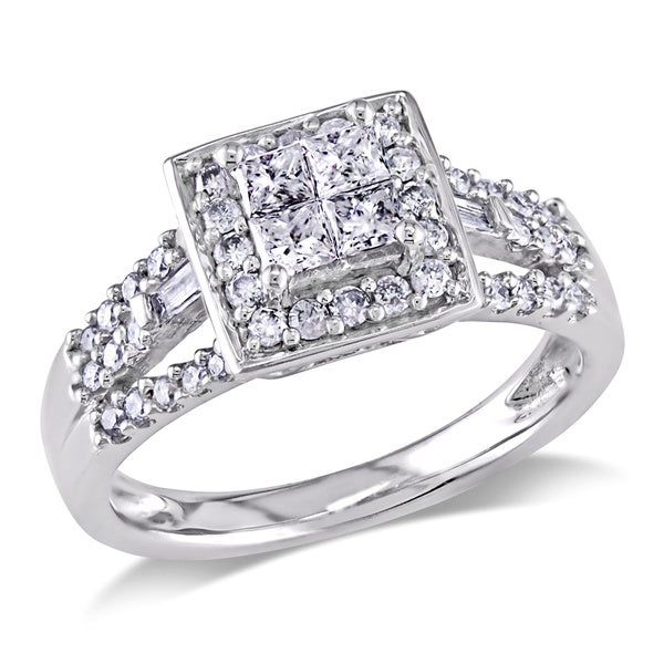 Miadora 10k White Gold 1/2ct TDW Diamond Halo Engagement Ring (G-H, I2-I3)