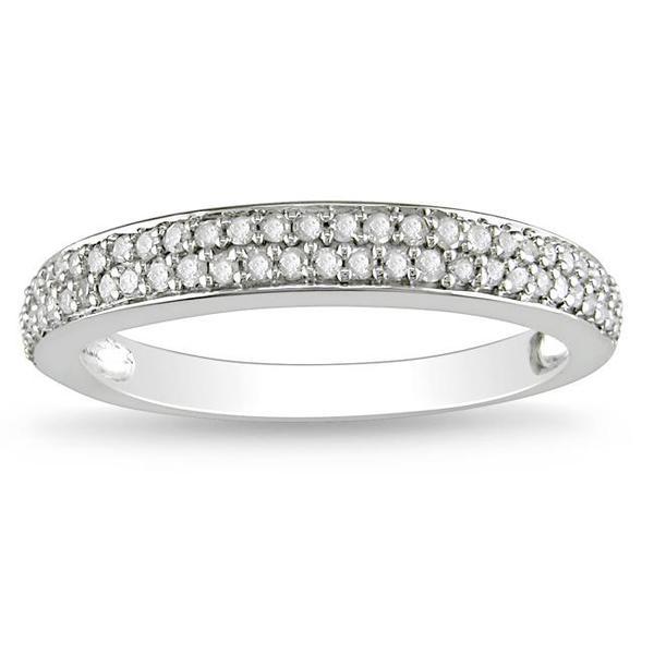 Miadora 10k White Gold 1/4ct TDW Diamond wedding Band (G-H, I2-I3)