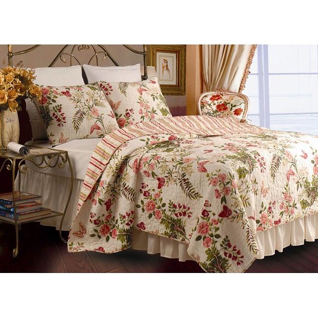 Greenland Home Fashions Butterflies 3-Piece Full/ Queen-size Quilt Set