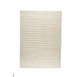 Hand-knotted Veni White Wool Rug (4'6 x 6'6)