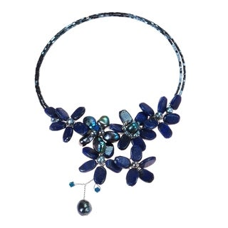 Lapis/ Black Onyx and Pearl Cluster Choker (4-10 mm) (Thailand)