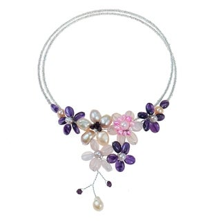 Amethyst/ Rose Quartz and Pearl Cluster Choker (4-10 mm) (Thailand)
