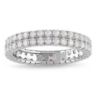 Miadora 14k White Gold 1ct TDW Diamond Double Row Eternity Ring (G-H, I1-I2)