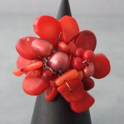 Base Metal Red Coral and Pearl Flower Wrap Ring (7-9 mm) (Thailand)