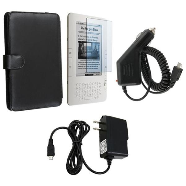 4-piece Leather Case/ Screen Protector/ Chargers for Amazon Kindle 3