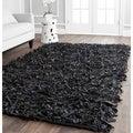 Safavieh Handmade Metro Black Leather Shag Rug (3' x 5')