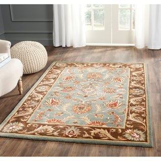 Handmade Heritage Blue/ Brown Wool Rug (7&#39;6 x 9&#39;6)