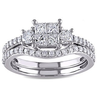 Miadora 14k White Gold 1ct TDW Diamond Bridal Ring Set (G-H, I2-I3)