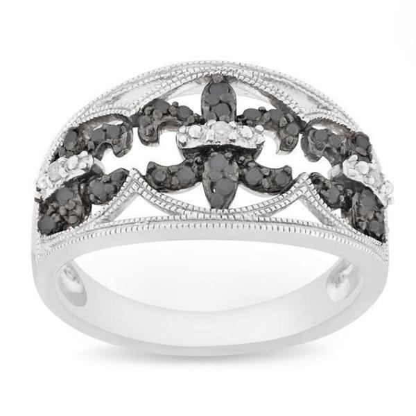 Haylee Jewels Silver 1/4 CT TDW Black and White Diamond Ring (H-I, I3)