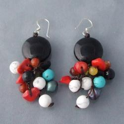 Silver Multi-gemstone and Pearl Cluster Earrings (7-8 mm) (Thailand)