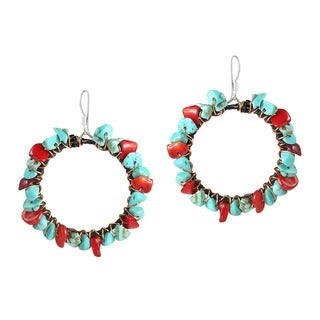 Copper Wire and Cotton Red Coral and Turquoise Earrings (Thailand)