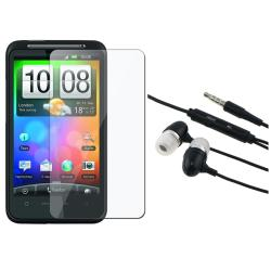 INSTEN 3.5mm In-ear Stereo Headset/ Screen Protector for HTC Desire HD