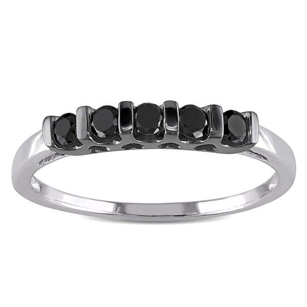 Haylee Jewels Sterling Silver 1/4ct TDW Black Round Diamond Ring