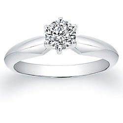 14k White Gold 1/2ct TDW Certified Diamond Solitaire Engagement Ring (H-I, I1-I2)