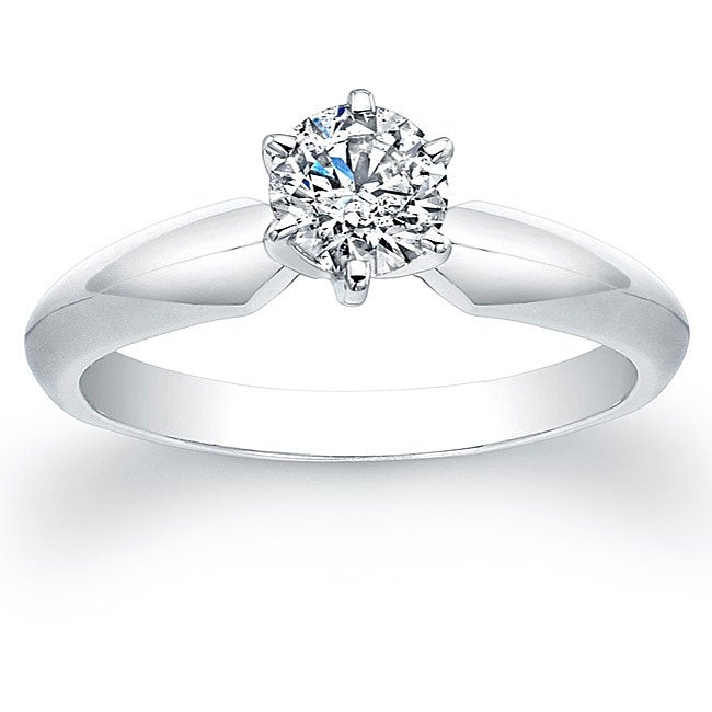 14k White Gold 1/2ct TDW Certified Diamond Solitaire Engagement Ring (G-H, SI2-SI3)