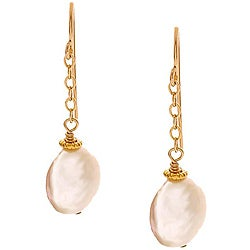 Misha Curtis White Coin Pearl 14k Goldfill Earrings (10-12 mm)