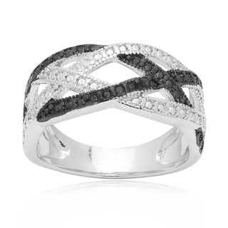 Finesque Sterling Silver Black Diamond Accent Braided Design Ring