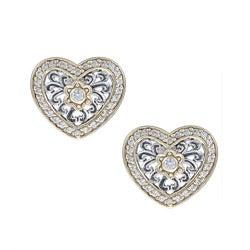 Icz Stonez Sterling Silver Cubic Zirconia Heart Earrings